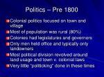 politics pre 1800