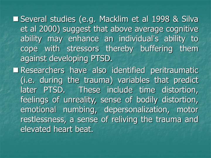 Several studies (e.g. Macklim et al 1998