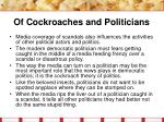 of cockroaches and politicians