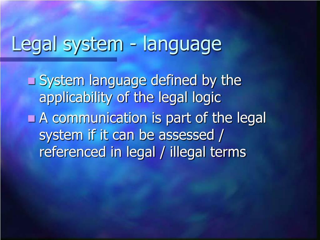 Legal system - language