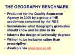 the geography benchmark