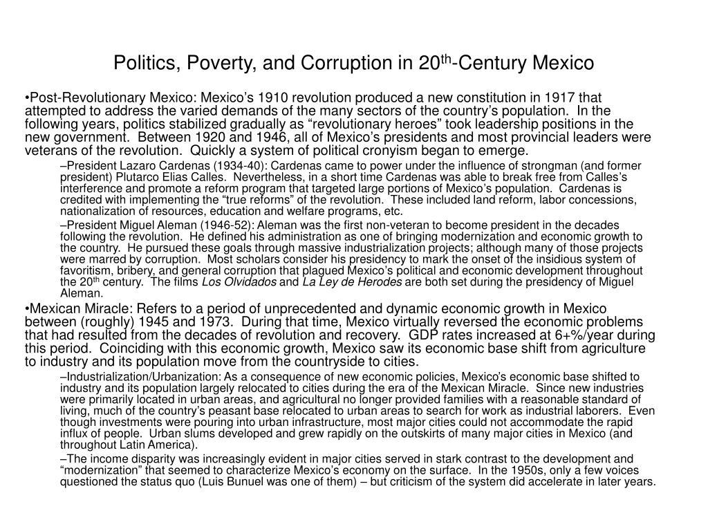 politics poverty and corruption in 20 th century mexico l.
