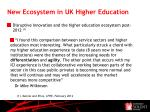 new ecosystem in uk higher education
