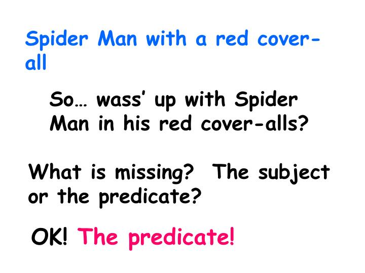Spider Man with a red cover-all