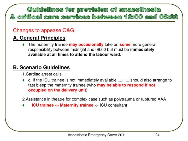 Guidelines for provision of anaesthesia