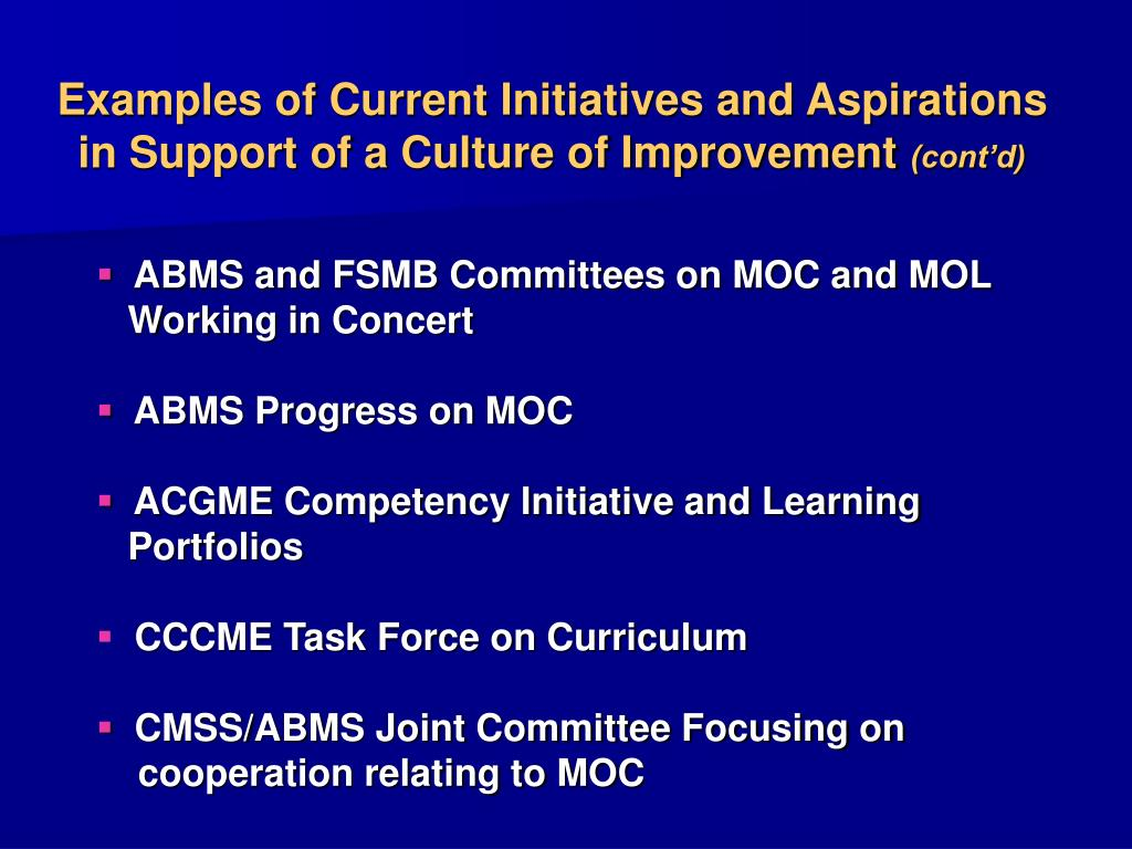 Examples of Current Initiatives and Aspirations in Support of a Culture of Improvement