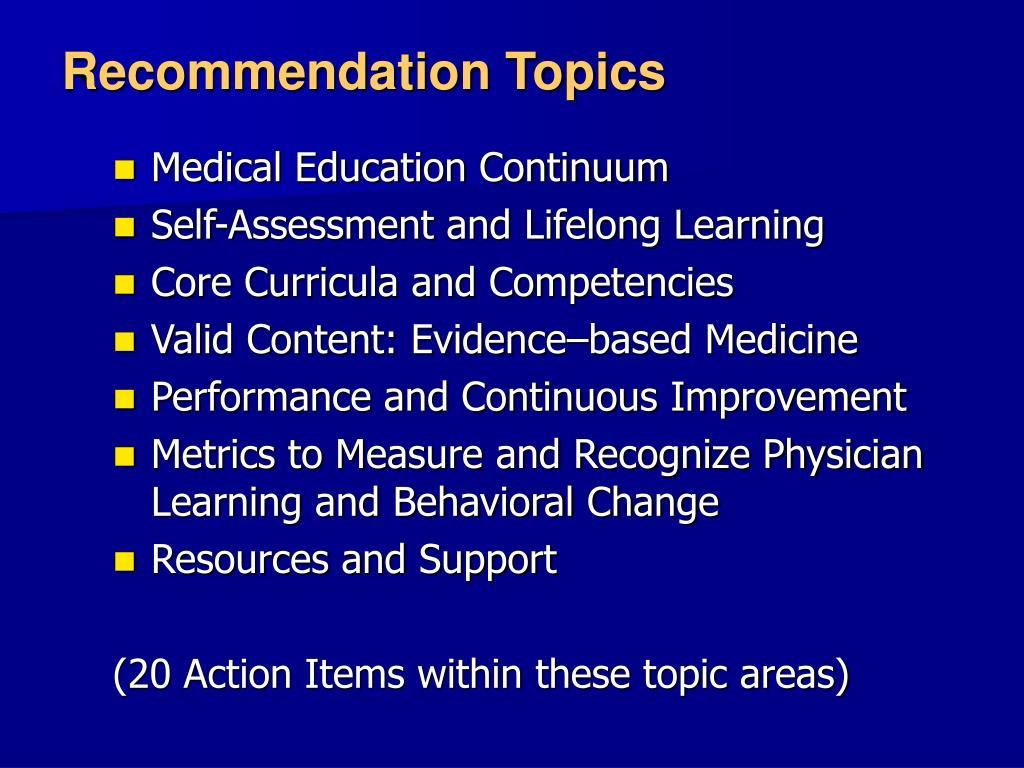Recommendation Topics