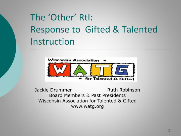 the other rti response to gifted talented instruction n.