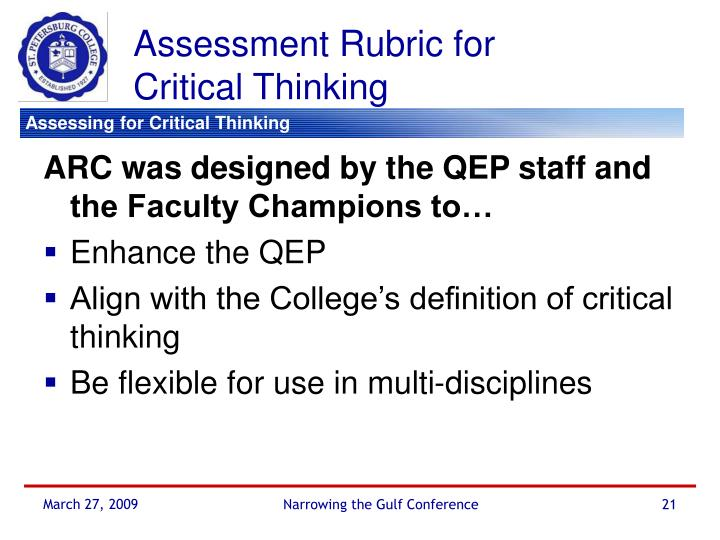 qep critical thinking assessment rubrics