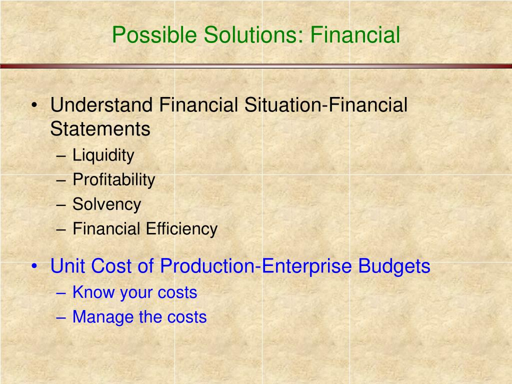 Possible Solutions: Financial