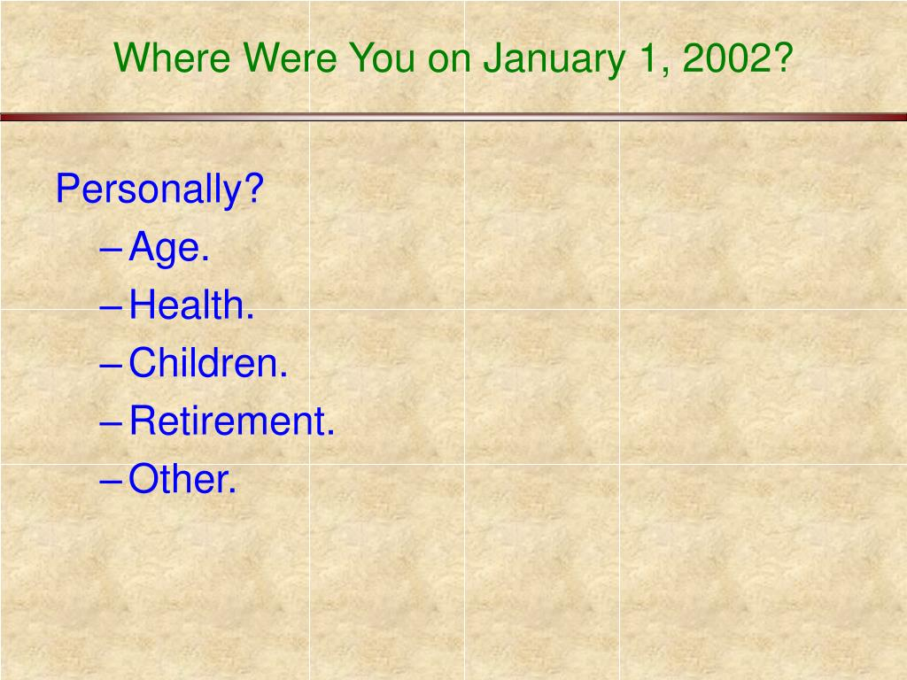 Where Were You on January 1, 2002?