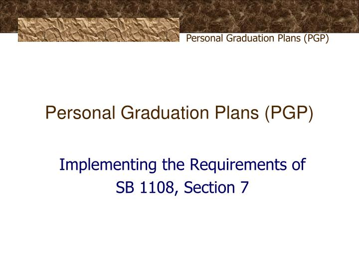 personal graduation plans pgp n.