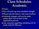class schedules academic