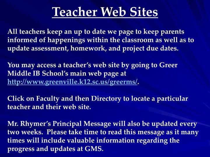 Teacher Web Sites