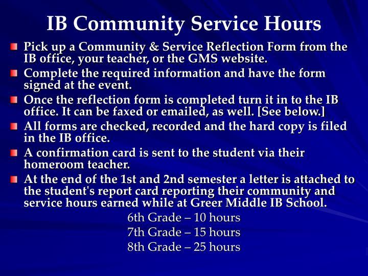 IB Community Service Hours