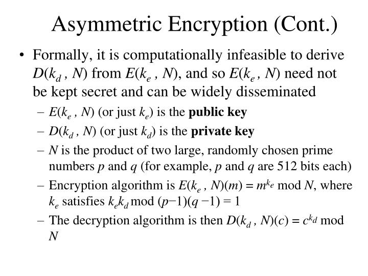 Asymmetric Encryption (Cont.)