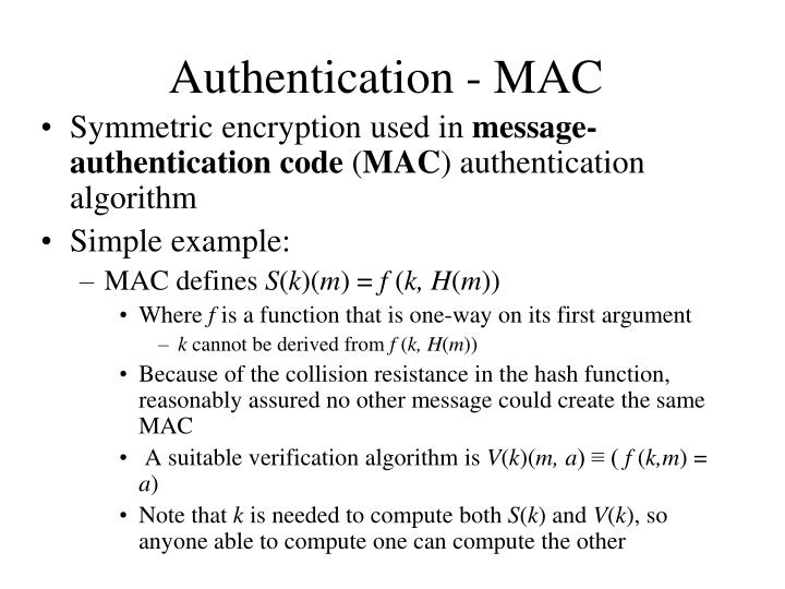 Authentication - MAC