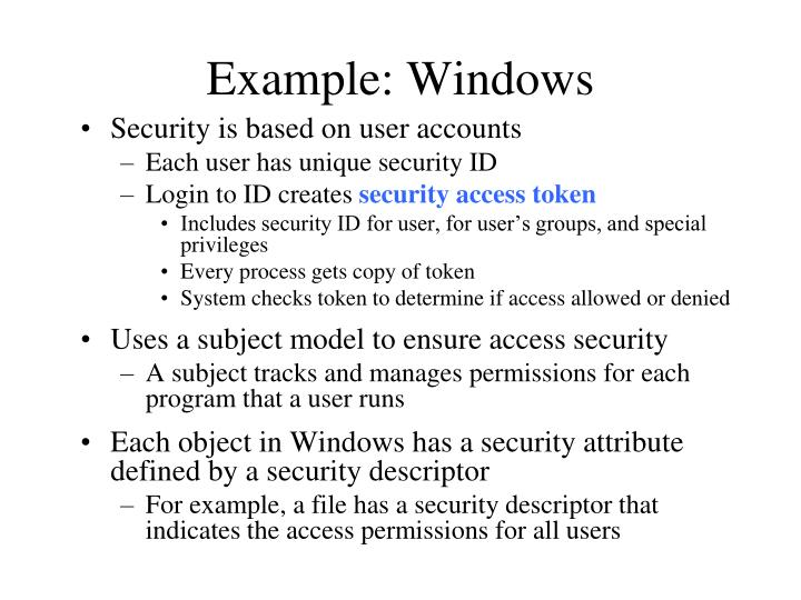 Example: Windows