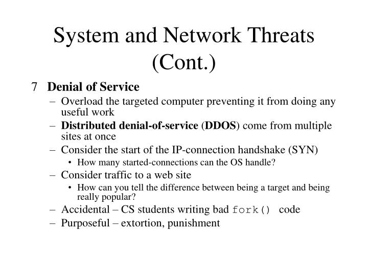 System and Network Threats (Cont.)