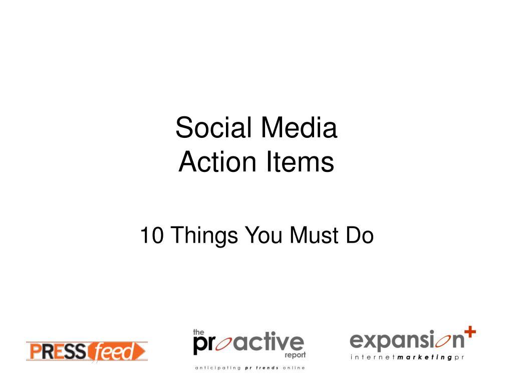 social media action items l.