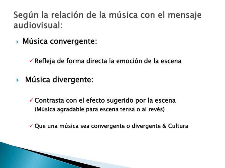 Según la relación de la música con el mensaje audiovisual: