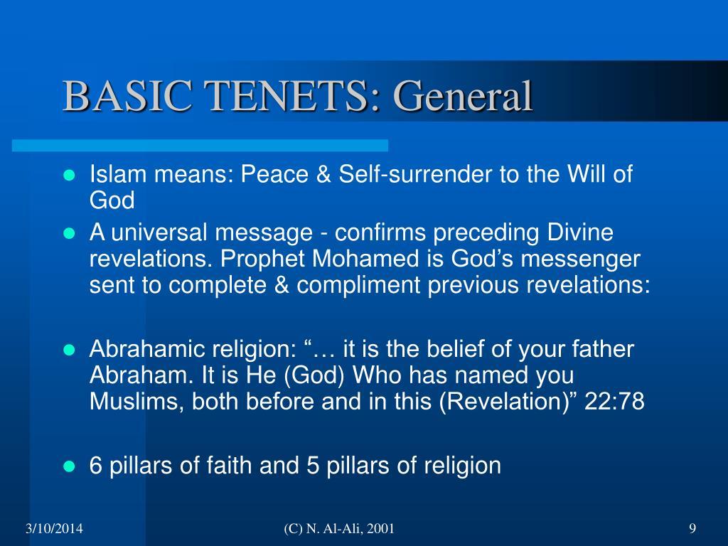 BASIC TENETS: General