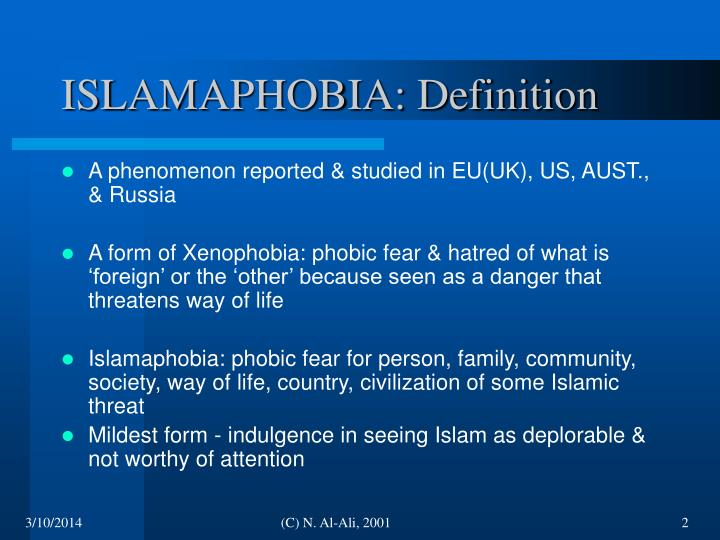 Islamaphobia definition