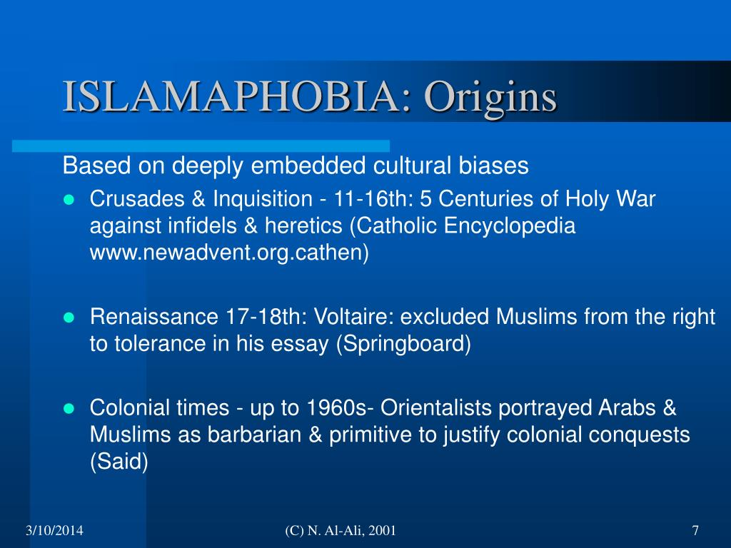ISLAMAPHOBIA: Origins