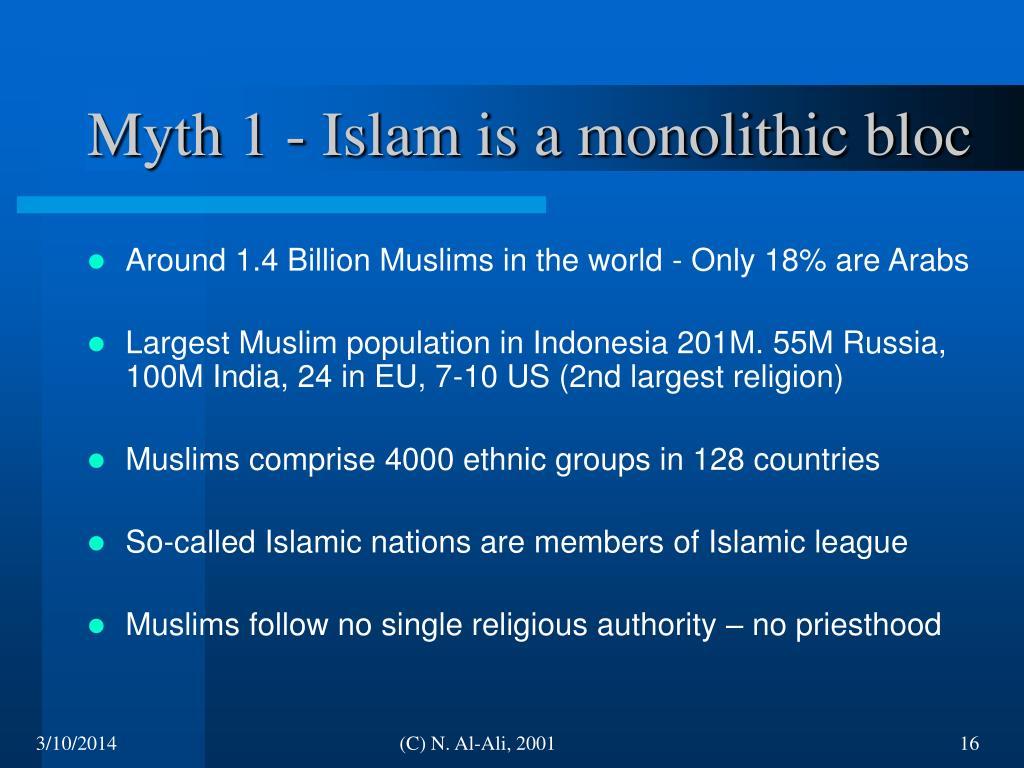 Myth 1 - Islam is a monolithic bloc