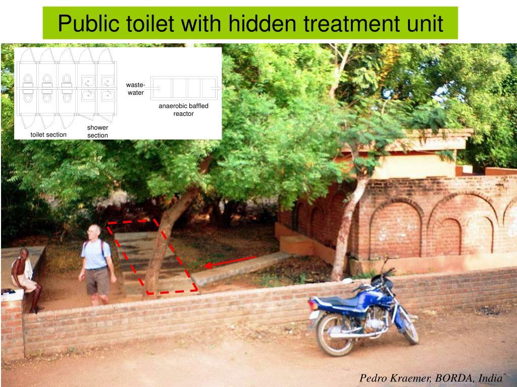 Public toilet with hidden treatment unit