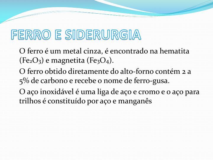 FERRO E SIDERURGIA