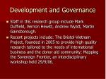 development and governance
