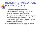 highlights implications for peace cont