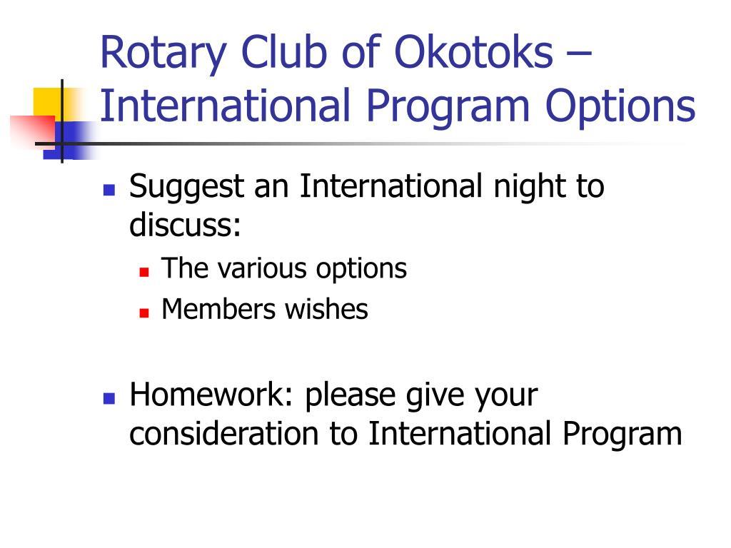 Rotary Club of Okotoks – International Program Options