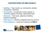 conventions or mechanics