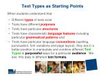 text types as starting points