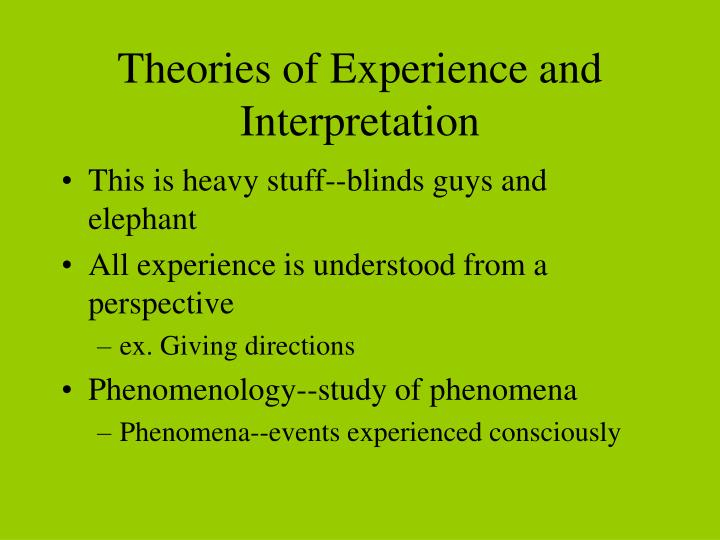 theories of experience and interpretation n.
