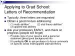 applying to grad school letters of recommendation