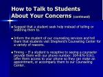 how to talk to students about your concerns continued