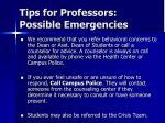 tips for professors possible emergencies