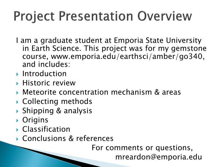 Project presentation overview