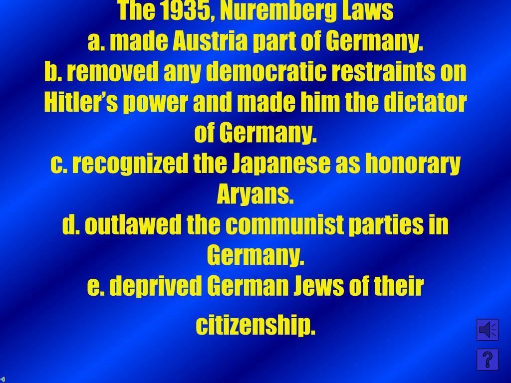 The 1935, Nuremberg Laws