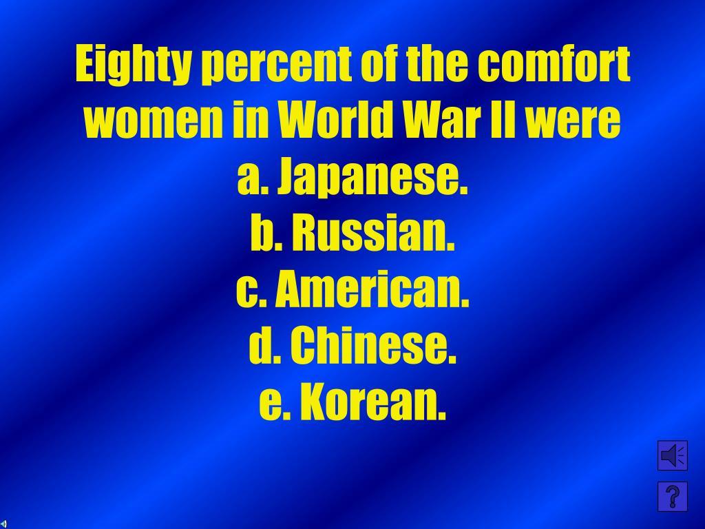 Eighty percent of the comfort women in World War II were