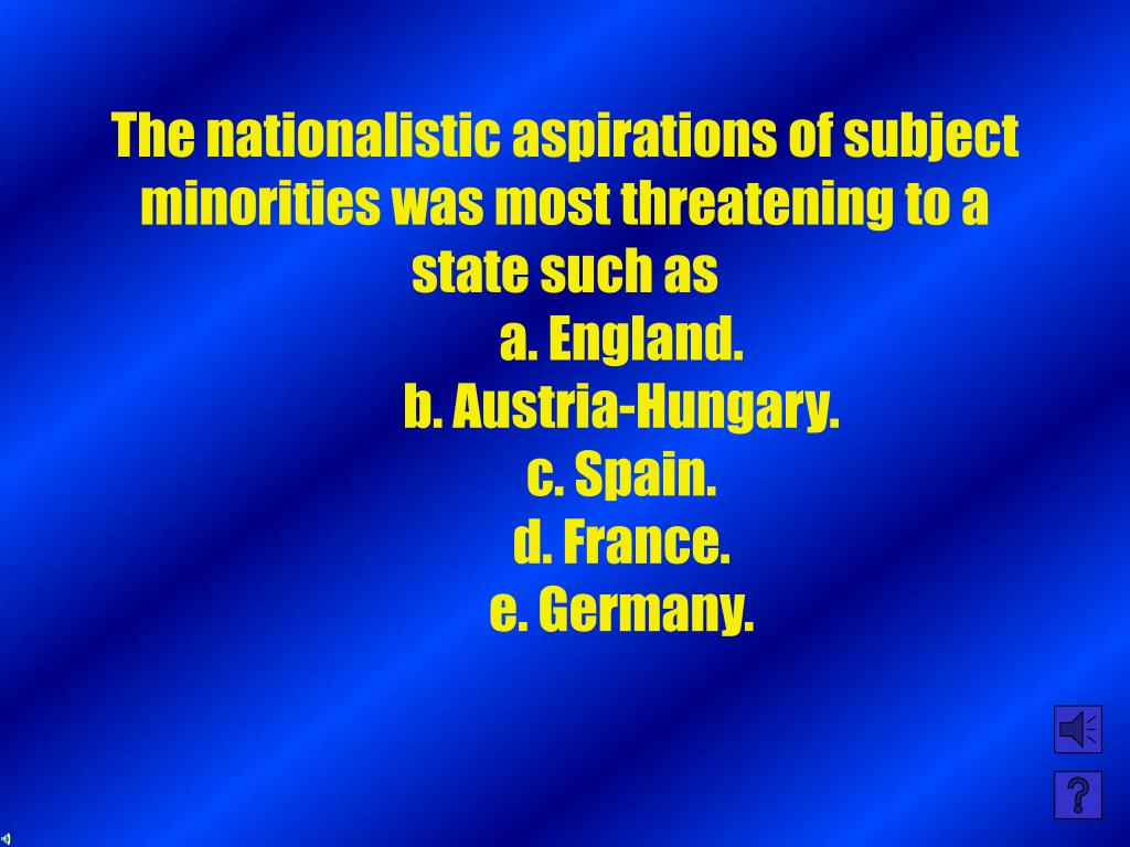 The nationalistic aspirations of subject minorities was most threatening to a state such as