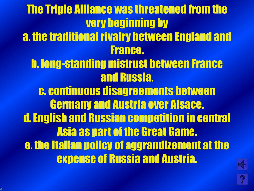 The Triple Alliance was threatened from the very beginning by