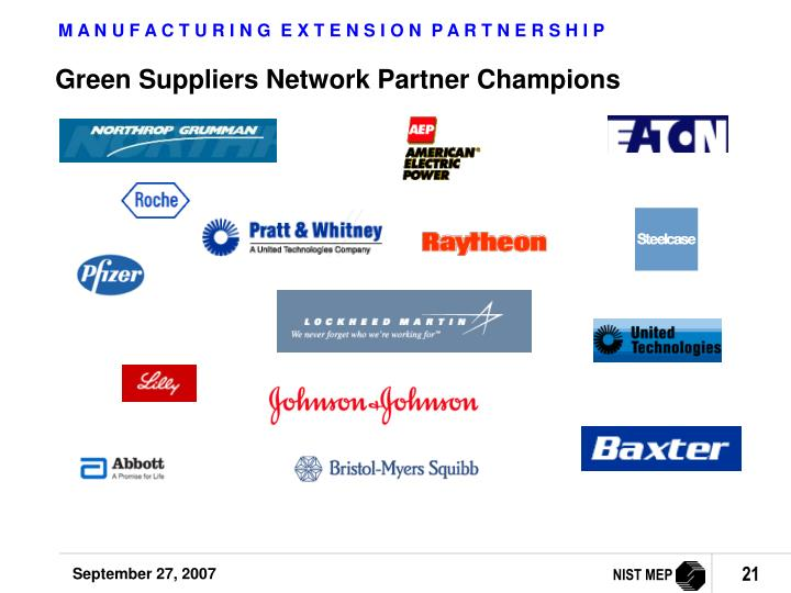 Green Suppliers Network Partner Champions