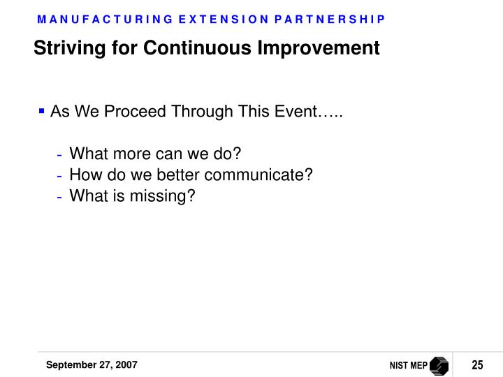 Striving for Continuous Improvement
