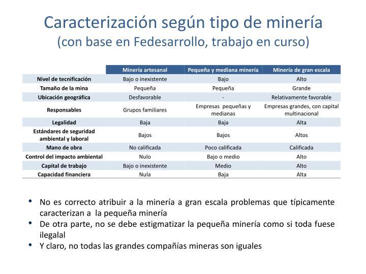 Caracterización según tipo de minería