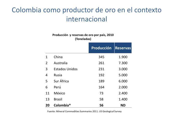 Colombia como productor de oro en el contexto internacional