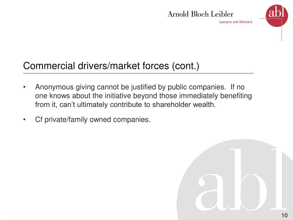 Commercial drivers/market forces (cont.)